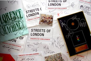 Paul Weller and The Rolling Stones are auctioning signed T-Shirts in aid of homelessness charity, Streets of London.