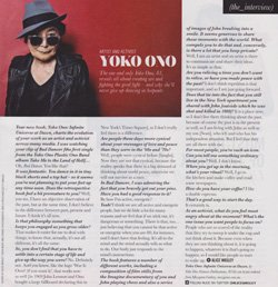 Yoko took the time to speak to Melbourne's Sunday Herald Sun about creating her retrospective book, YOKO ONO INFINITE UNIVERSE AT DAWN.