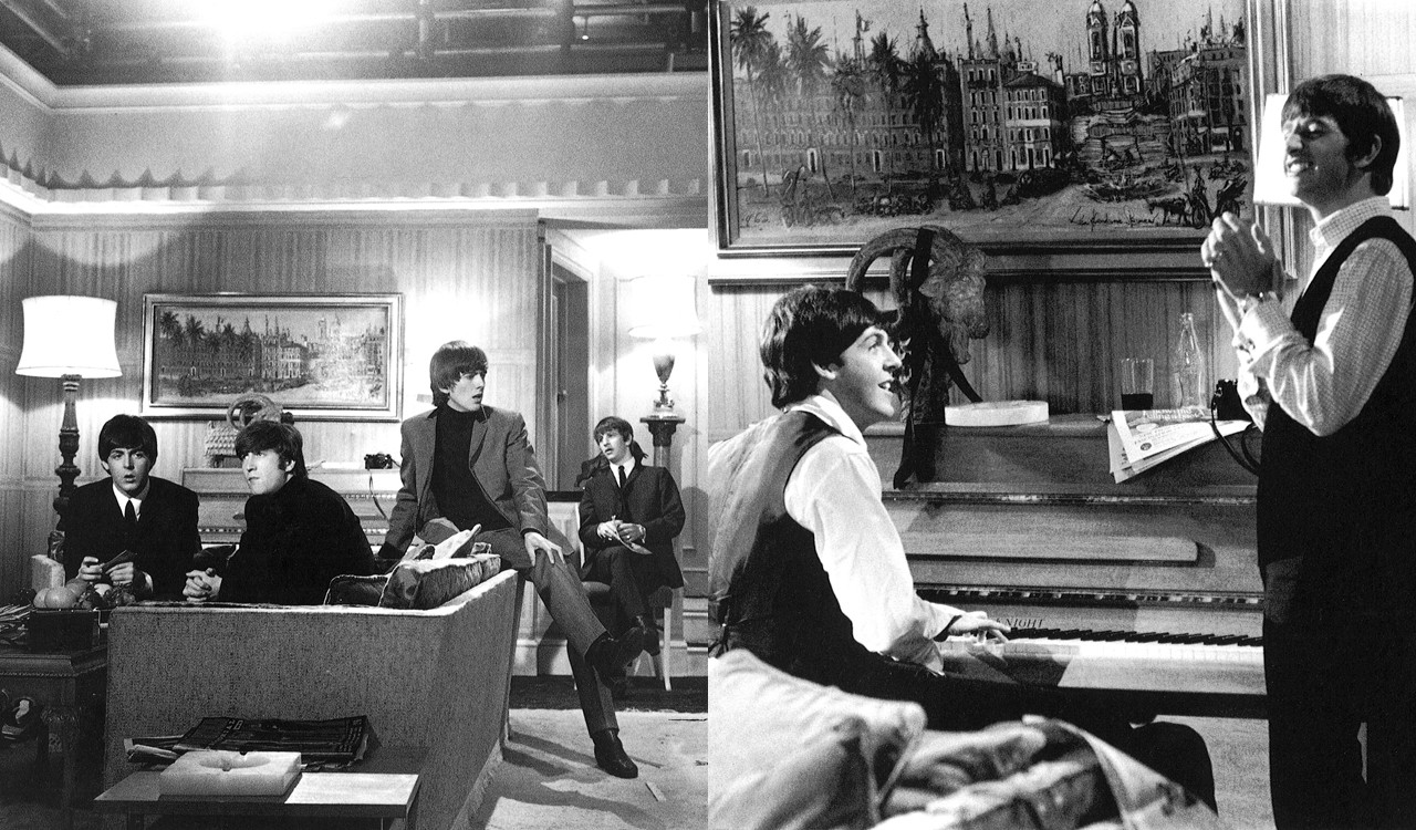 The Beatles on set during the making of A Hard Day's Night