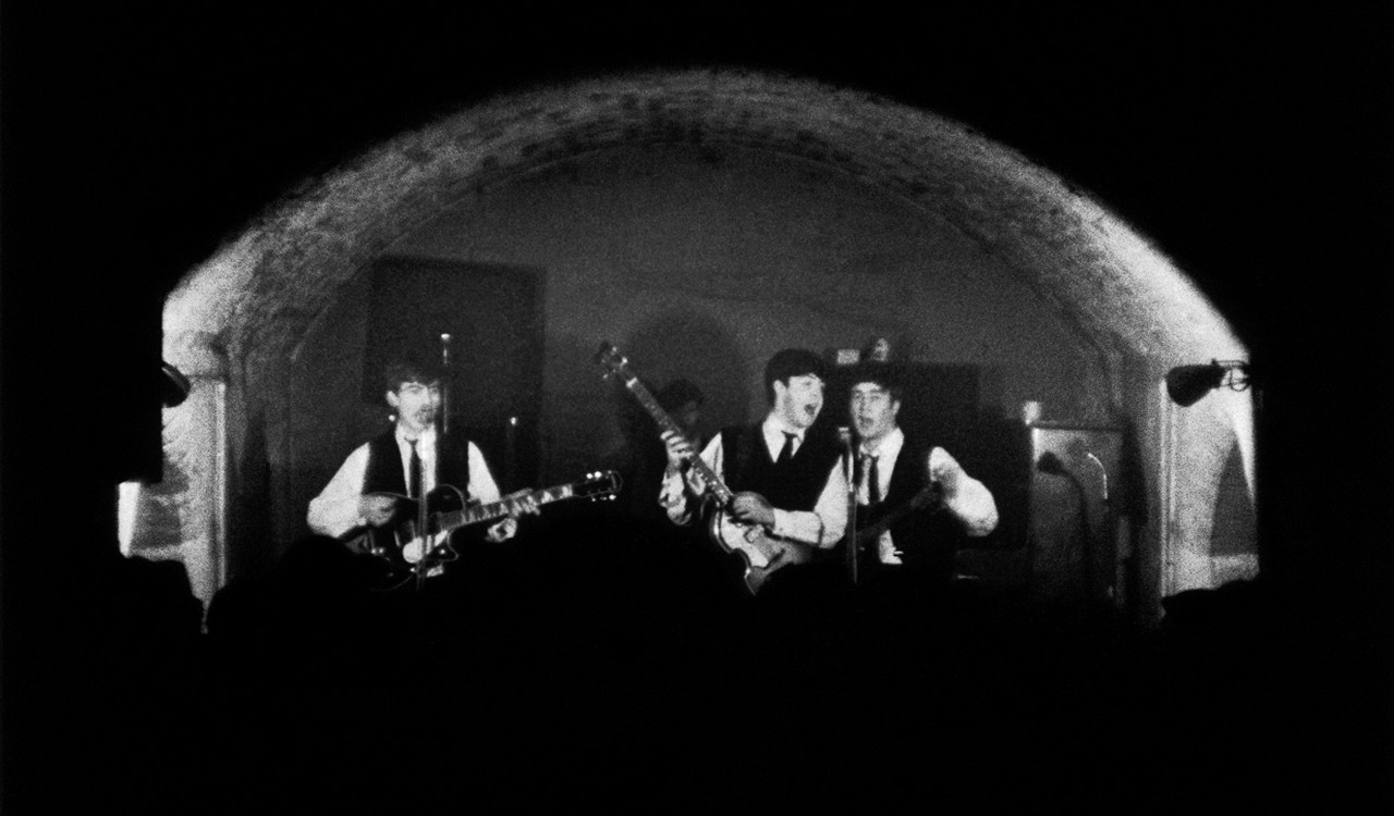 The Beatles onstage at the Cavern Club, Liverpool, 1963