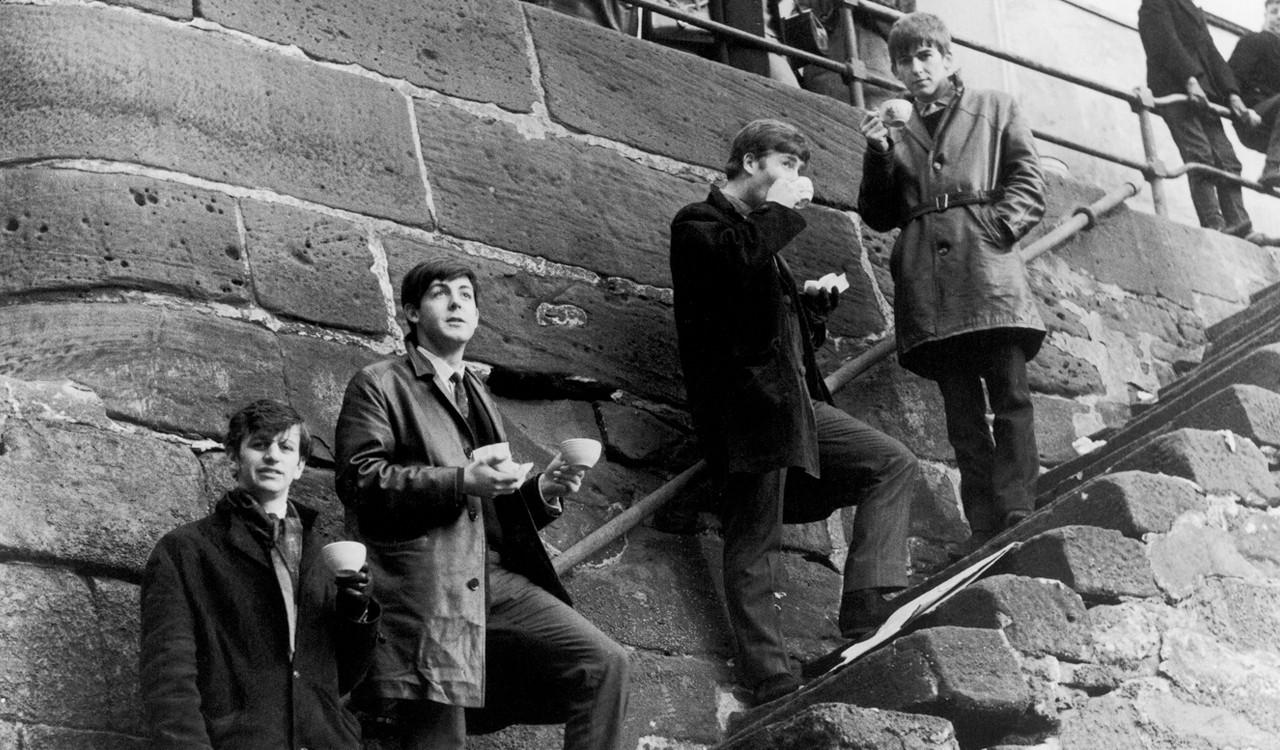 The Beatles at Liverpool's Pier Head Docks, 1963