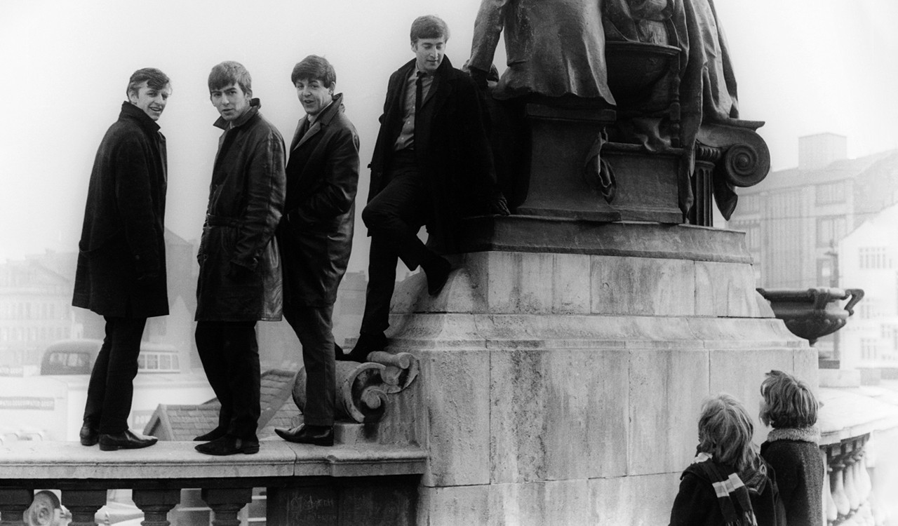 The Beatles at Liverpool's Victoria Monument, February 1963