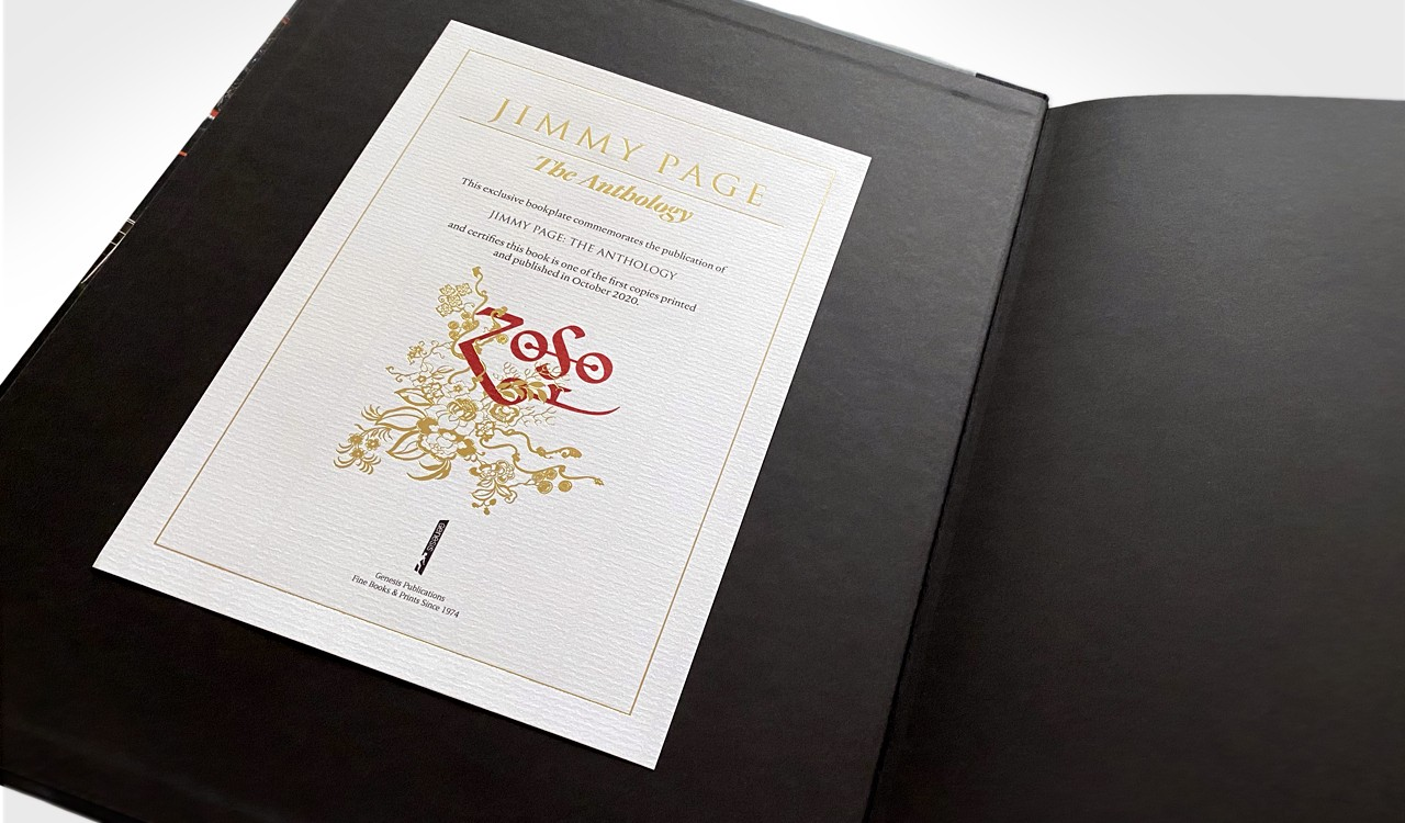 A commemorative bookplate shown inside Jimmy Page: The Anthology