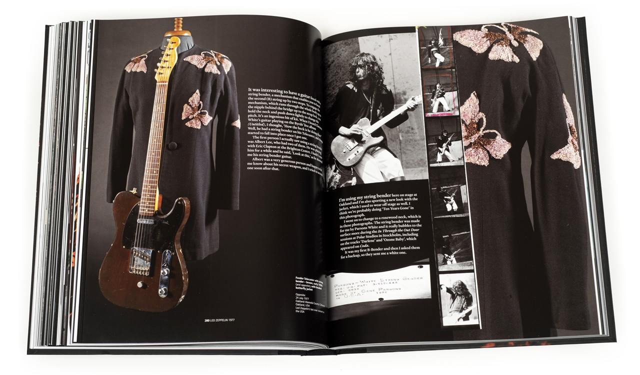 A stage outfit and Telecaster guitar from Led Zeppelin, 1977, in Jimmy Page: The Anthology