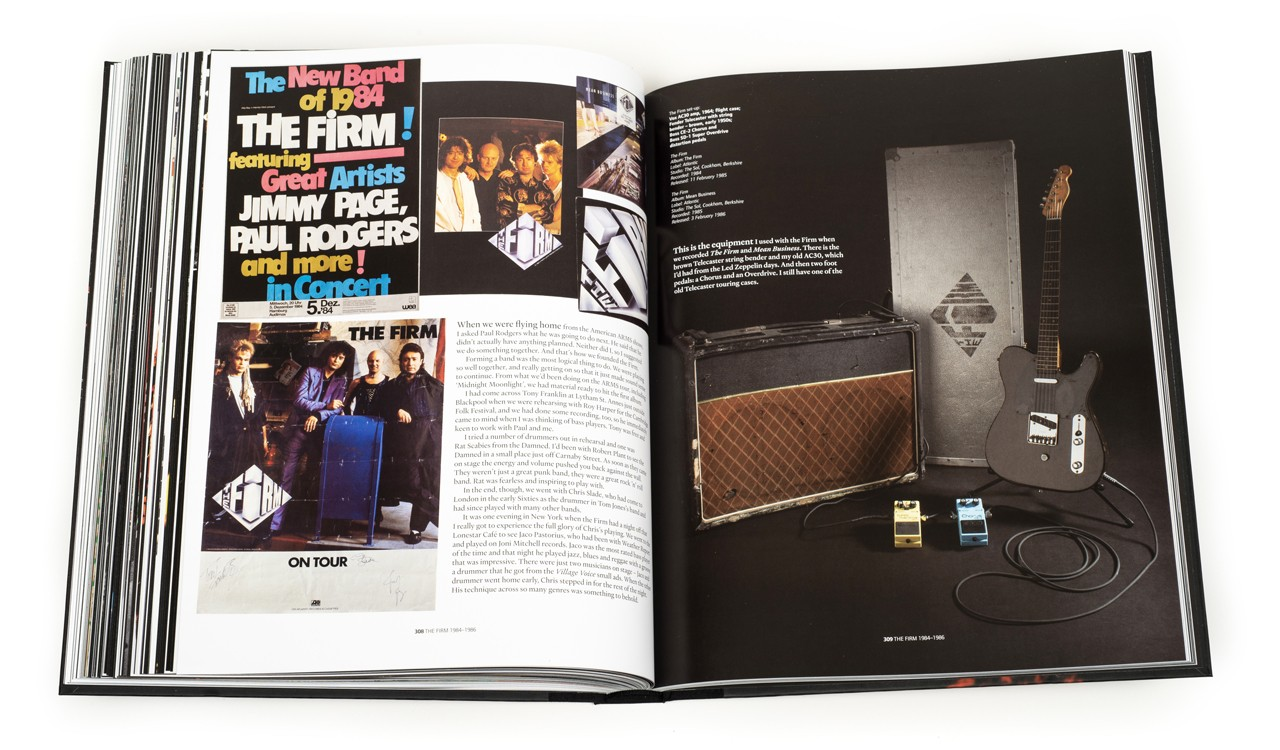 Guitars and equipment from The Firm, shown in Jimmy Page: The Anthology