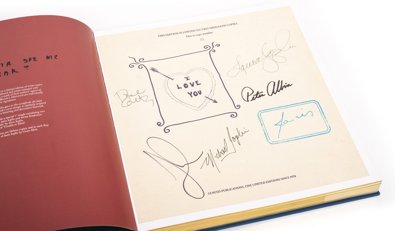 Janis Joplin's Days and Summers signed limited edition book