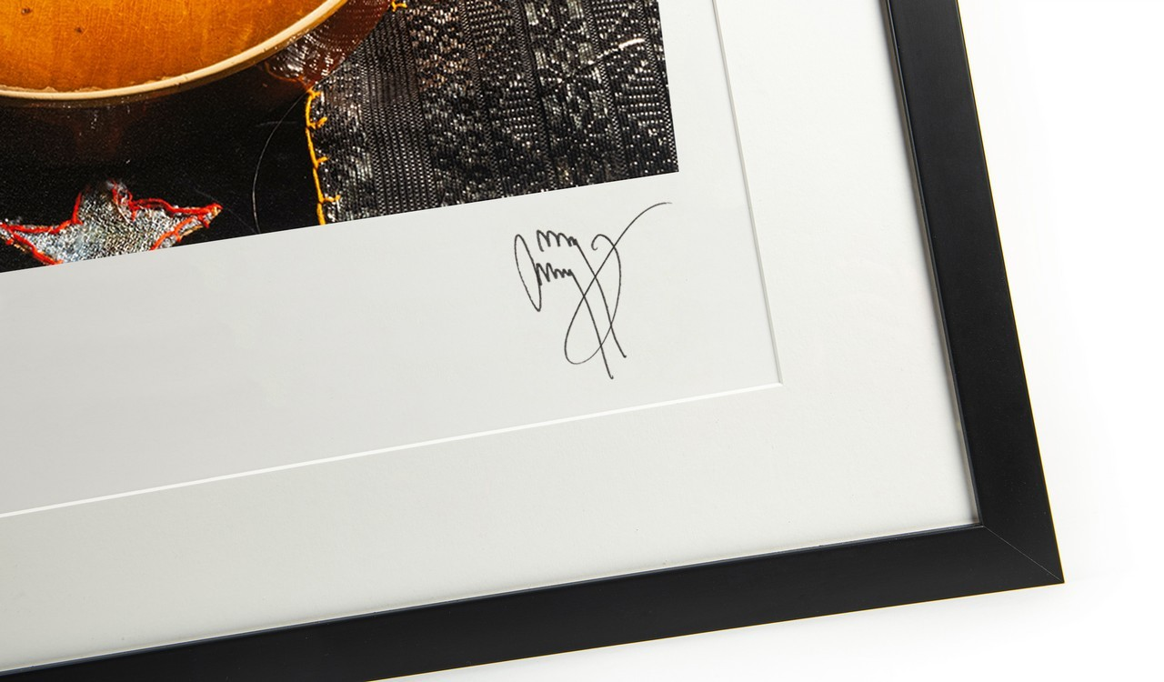 Jimmy Page's 'Number One' Les Paul and 'Song Remains the Same' Suit, Autographed Print