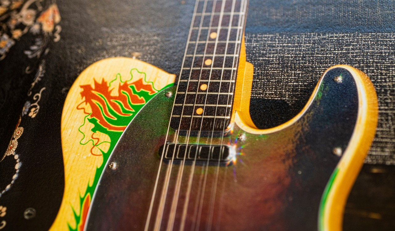 Jimmy Page's Dragon Telecaster, Amplifier and Shawl, Print Detail